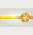 golden bow with shiny ribbon on grey background vector image