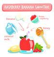 raspberry banana smoothies vector image