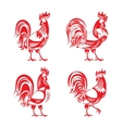 Stylized red cockerel rooster silhouette set vector image
