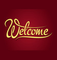 Welcome hand lettering sign vector image
