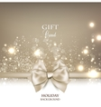 Gorgeous gift card with white bow and copy space vector image vector image