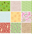 seamless patterns with plants and butterflies vector image