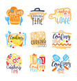 cooking time logo design set of colorful hand vector image