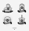 Set of fast food junk food logos with ribbon Fries vector image