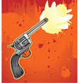 Revolver in engraving style - vector image