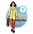 Beautiful young women in a casual clothes on city vector image vector image