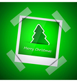 Green picture of merry christmas vector image