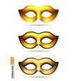 set of golden carnival mask vector image