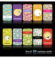 Set of ten cartoon cards vector image