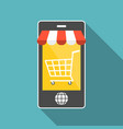 smart phone with shopping cart vector image