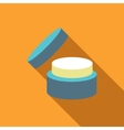 Cosmetic face cream jar icon flat style vector image