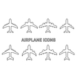 set of different airplane symbols vector image vector image