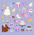 wedding cartoon icons vector image