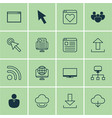 set of 16 world wide web icons includes website vector image