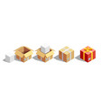 Parcel packaging isometric set vector image