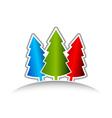 three christmas trees vector image vector image