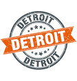 Detroit red round grunge vintage ribbon stamp vector image