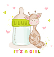 Baby Shower Card - Cute Baby Giraffe vector image