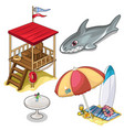 isolated set of beach rest attributes vector image