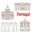 Portuguese travel landmarks of Lisbon icons vector image