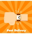 Fast delivery banner Human hand with watch vector image