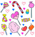 doodle of various candy colorful cartoon style vector image