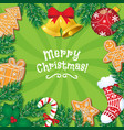 greeting card banner with christmas decorations vector image