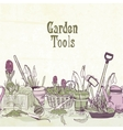 Hand drawn gardening tools frame vector image