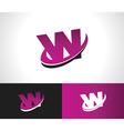 Swoosh Alphabet Icon W vector image vector image