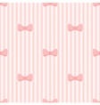 Seamless background bows on pink strips pattern vector image