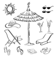 Summer objects outline vector image