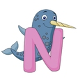 Alphabet N with Narwhal cartoon vector image