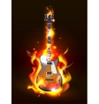 Guitar in fire flames vector image vector image