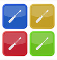set of four square icons with screwdriver vector image