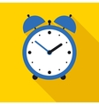 Blue Alarm Clock in Flat Style vector image