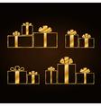 Christmas gold gifts set vector image