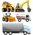 Different kinds of tractors and truck vector image