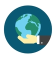 Hand holding globe icon vector image