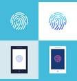 smartphone with fingerprint authentication sign on vector image