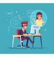 Helpline operator consulting client Tech support vector image