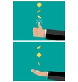 hand of businessman tossing and catches a coin vector image