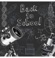 Back to school doodles on blackboard background vector image