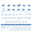 blue weather theme big icon set with week vector image