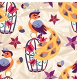 Exotic tropical bird on cage seamless pattern vector image