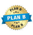 plan b 3d gold badge with blue ribbon vector image