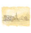 city sketching on vintage watercolor vector image