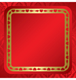 red background with ornament and frame vector image