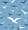 Seagulls and blue ocean seamless pattern vector image