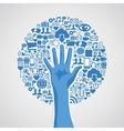 Social media networks hand concept tree vector image
