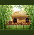 wooden cabin in bamboo forest vector image